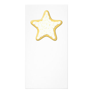 Iced Star Cookie. Yellow and White. Personalized Photo Card