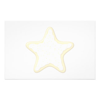Iced Star Cookie. Yellow and White. Stationery Paper