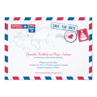 Iceland Air Mail Wedding Save The Date 13 Cm X 18 Cm Invitation Card
