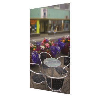Iceland, Akureyri. View of the main business Stretched Canvas Print