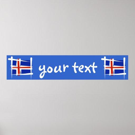 Iceland Brush Flag Banner Poster