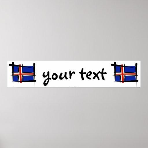Iceland Brush Flag Banner Print