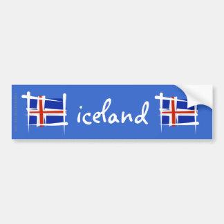 Iceland Brush Flag Bumper Sticker