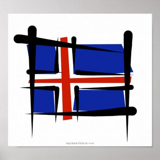 Iceland Brush Flag Poster