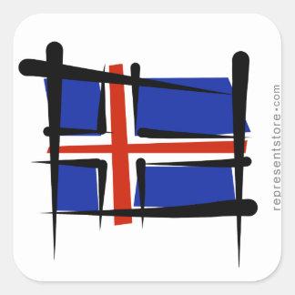 Iceland Brush Flag Square Sticker