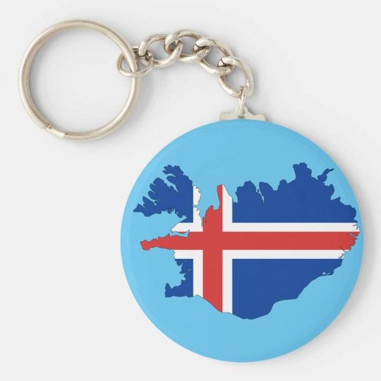 Iceland country basic round button key ring