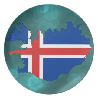 Iceland country flag plate