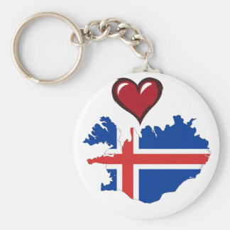 Iceland country flag red heart key ring