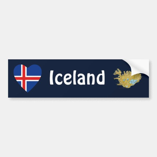 Iceland Flag Heart + Map Bumper Sticker