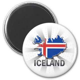 Iceland Flag Map 2.0 6 Cm Round Magnet