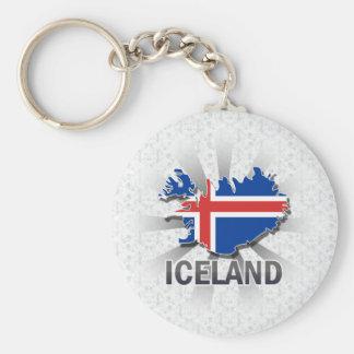 Iceland Flag Map 2 0 Keychain