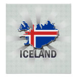 Iceland Flag Map 2.0 Poster