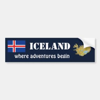 Iceland Flag + Map Bumper Sticker