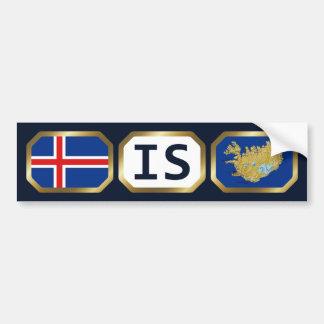 Iceland Flag Map Code Bumper Sticker