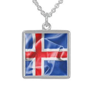 Iceland Flag Square Pendant Necklace