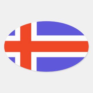 Iceland Flag Oval Sticker