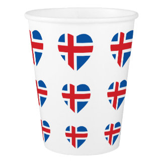 ICELAND HEART SHAPE FLAG PAPER CUP