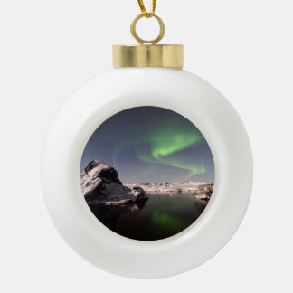 Iceland in Winter Ceramic Ball Christmas Ornament