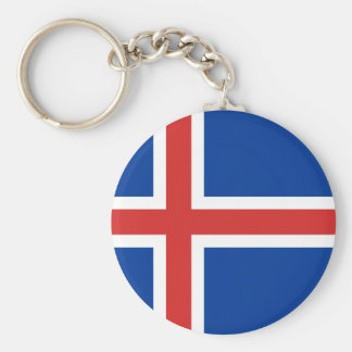 Iceland IS Ísland Flag Basic Round Button Key Ring