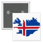 Iceland IS Ísland Flag map 15 Cm Square Badge
