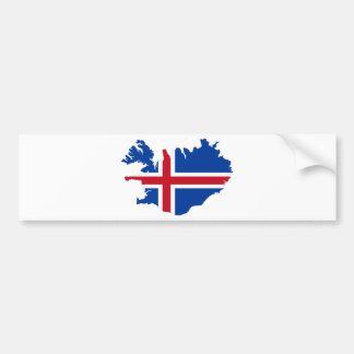 Iceland IS Ísland Flag map Bumper Sticker