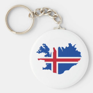 Iceland IS Ísland Flag map Key Ring