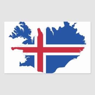 Iceland IS Ísland Flag map Rectangular Sticker