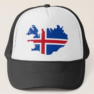 Iceland IS Ísland Flag map Trucker Hat
