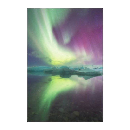 Iceland, Jokulsarlon. Aurora Lights Reflect Canvas Print