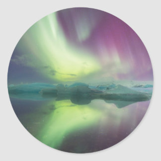 Iceland, Jokulsarlon. Aurora Lights Reflect Classic Round Sticker
