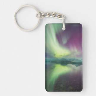 Iceland, Jokulsarlon. Aurora Lights Reflect Key Ring