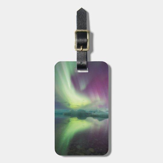 Iceland, Jokulsarlon. Aurora Lights Reflect Luggage Tag