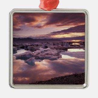 Iceland, Jokulsarlon Lagoon, Landscape Silver-Colored Square Decoration