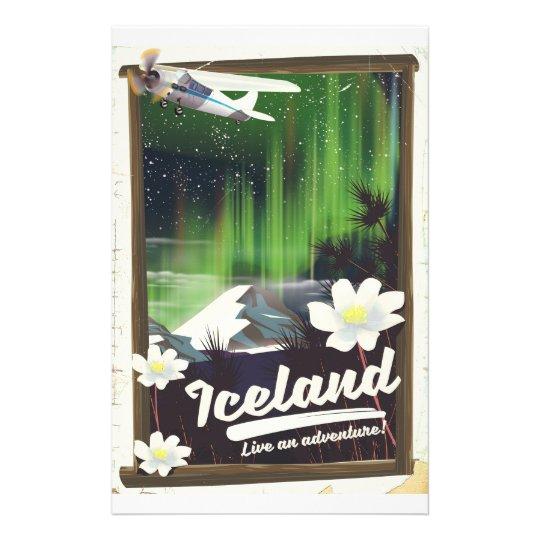 Iceland landscape vintage style travel poster stationery