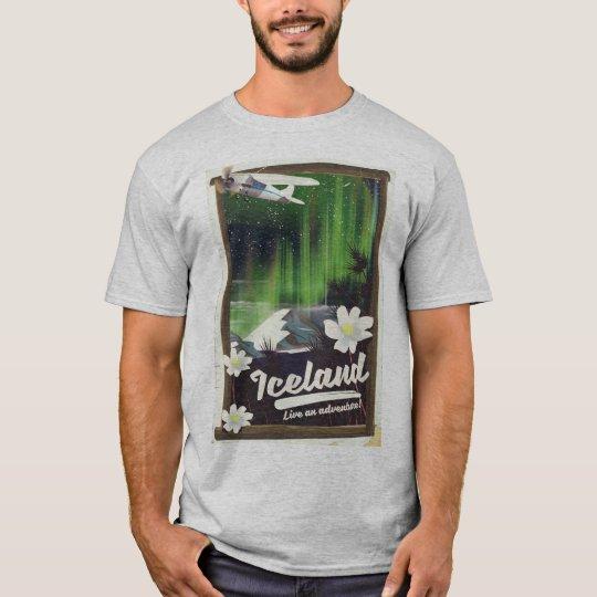 Iceland landscape vintage style travel poster T-Shirt