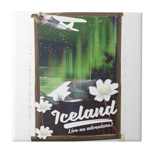 Iceland landscape vintage style travel poster tile