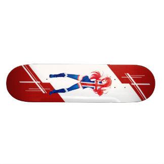 Iceland Manga Anime girl dressed in Flag Icelandic Skateboard Deck