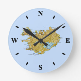 Iceland Map Clock