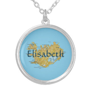 Iceland Map + Name Necklace