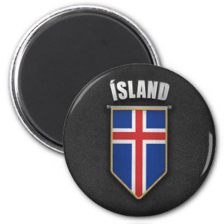 Iceland Pennant with high quality leather look 6 Cm Round Magnet