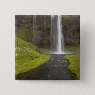 Iceland. People on trail behind Seljalandsfoss 15 Cm Square Badge