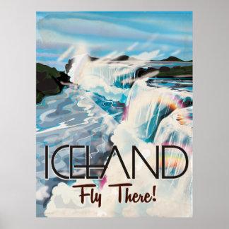Iceland Retro Landscape Travel Poster
