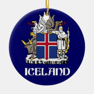 ICELAND - seal/emblem/blazon/coat of arms/symbol Round Ceramic Decoration