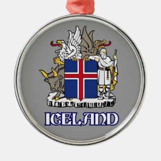 ICELAND - seal/emblem/blazon/coat of arms/symbol Silver-Colored Round Decoration