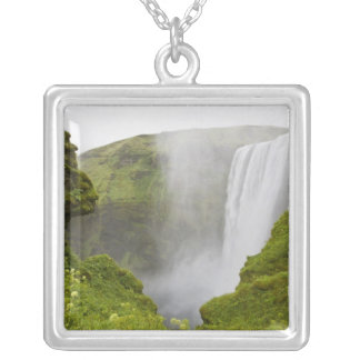 Iceland. Skogarfoss Waterfall plunges over a Silver Plated Necklace