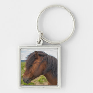 Iceland. South Region. Selfoss. Icelandic horse 1 Silver-Colored Square Key Ring
