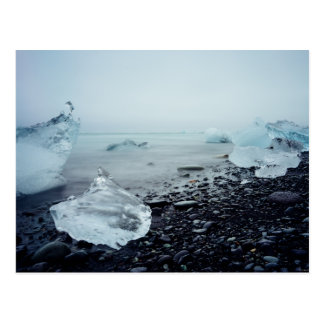 Iceland Tourism Ice Ocean Beach Beautiful Nature Postcard