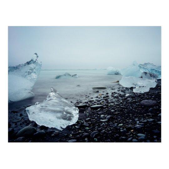 Iceland Tourism Ice Ocean Beach Beautiful Nature Postcard
