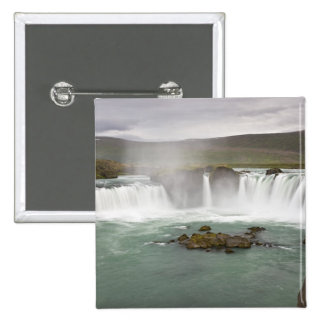 Iceland. View of Godafoss Falls on the 15 Cm Square Badge