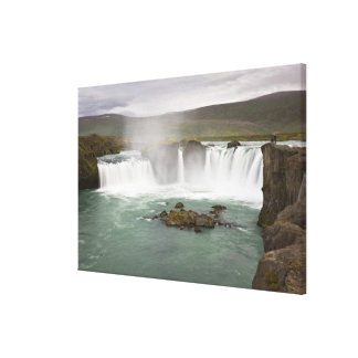 Iceland. View of Godafoss Falls on the Canvas Print